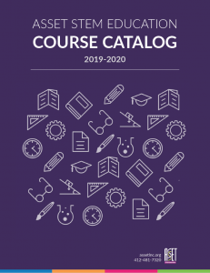 Cover of course catalog featuring simple line drawings of school-related things such as protractors, beakers, and pencils